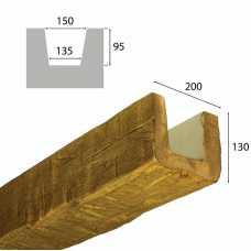 Балка рустик декоративная 200х130мм Дуб светлый, длина 2.0м
