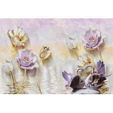 Лебеди на фоне цветов Т-138