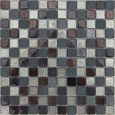 Мозаика стеклянная Naturelle Alcantara nero, 23*23*8 мм