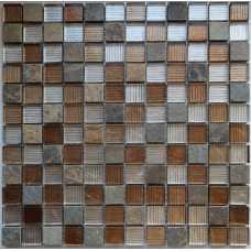 Мозаика стеклянная Naturelle Alcantara ruggine, 23*23*8 мм