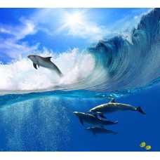 Дельфины на волнах 300*270 см